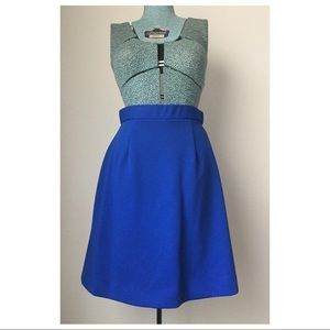 Vintage 1960s A-Line Skirt- Saturated Blue Small